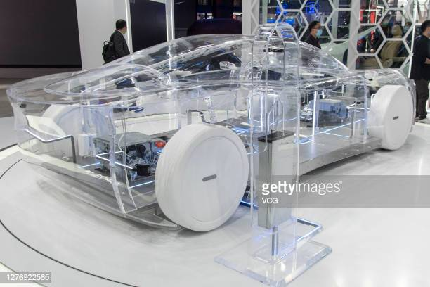 Transparent model car is on display at Huawei booth during 2020 Beijing International Automotive Exhibition at China International Exhibition Center...