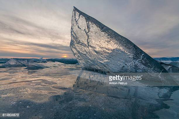 Transparent piece of ice at sunset, Lake Baikal
