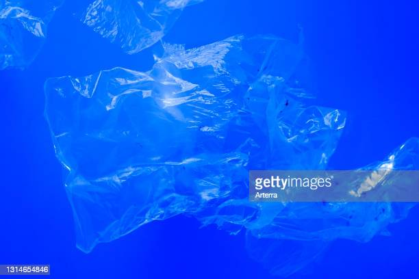 Transparent plastic bags floating underwater in blue ocean sea water, pollution by non-biodegradable plastic waste, hazard for marine wildlife.