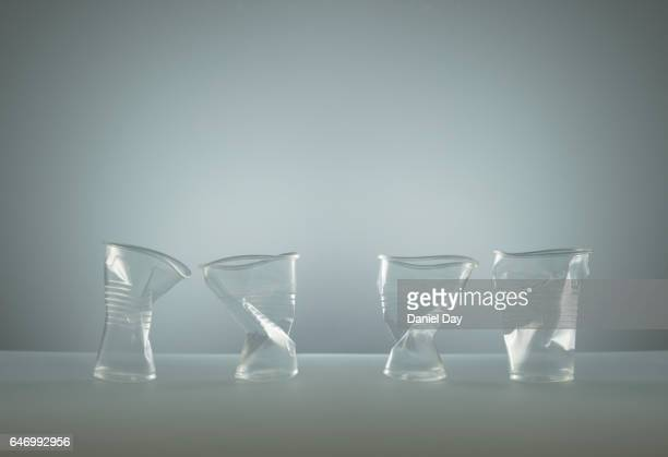 Transparent plastic cups stacked