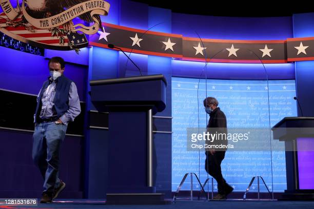 Transparent plexiglass partitions are positioned between the lecterns onstage In an effort to reduce the risk posed by the coronavirus the day before...