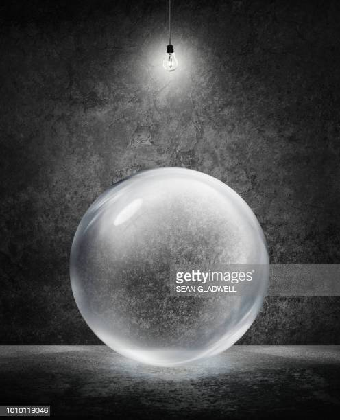 transparent sphere under light - translucent stock pictures, royalty-free photos & images