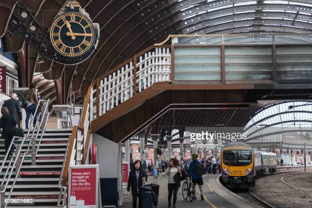 transpennine express train service in york station. - york yorkshire stock pictures, royalty-free photos & images