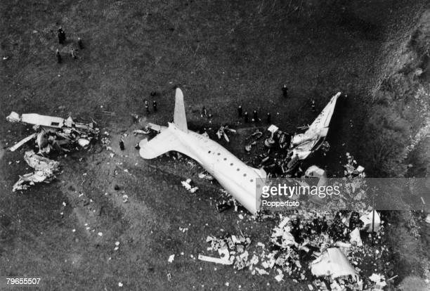 Transport Air Disasters Llandow South Wales pic 1950 The wreckage of the British Avro Tudor in which 80 people were killed The plane was carrying...