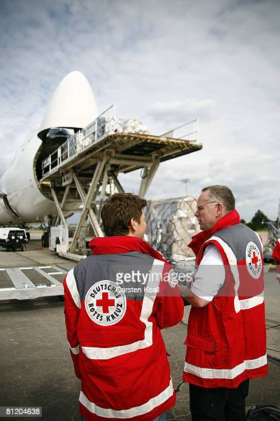 A transport aircraft is loaded with supplies from the German Red Cross including a field hospital for China's earthquake victims at the Berlin...