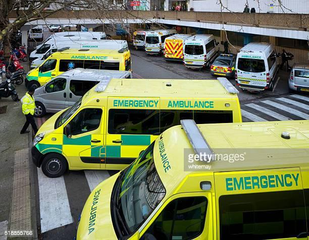 Transport ambulances parked at St Thomas' Hospital, London