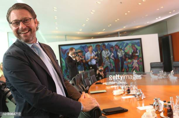 Transport and Digital Infrastructure Minister Andreas Scheuer arrives for the weekly German federal Cabinet meeting on August 15 2018 in Berlin...