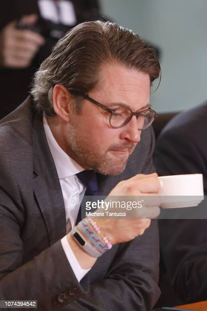 Transport and Digital Infrastructure Minister Andreas Scheuer arrives for the weekly government cabinet meeting on December 19 2018 in Berlin Germany...