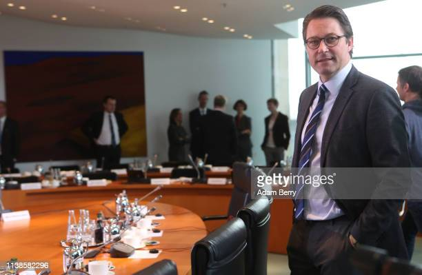 Transport and Digital Infrastructure Minister Andreas Scheuer arrives for the weekly German federal Cabinet meeting on March 27 2019 in Berlin...