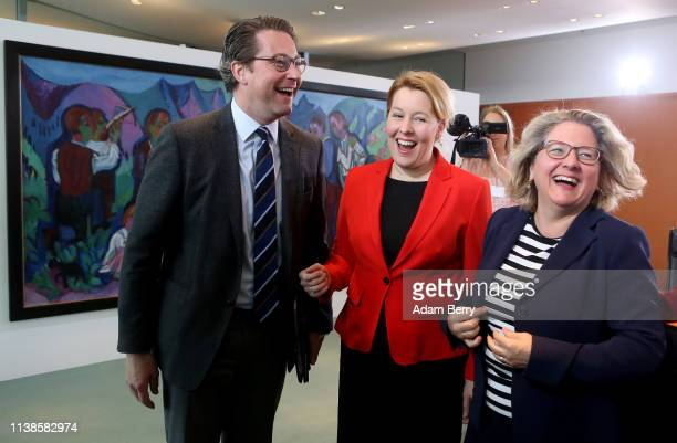 Transport and Digital Infrastructure Minister Andreas Scheuer Family Minister Franziska Giffey and Environment Minister Svenja Schulze arrive for the...