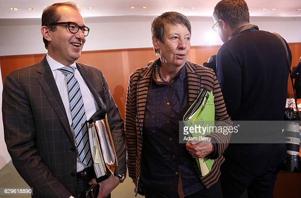 Transport and Digital Technologies Minister Alexander Dobrindt and Environment Minister Barbara Hendricks arrive for the weekly German federal...