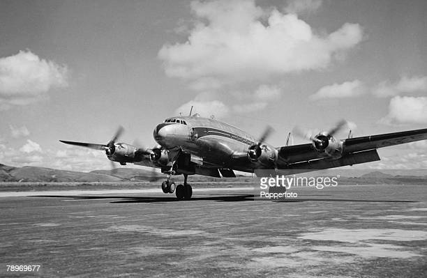 Transport Aviation Circa 1950's A Lockheed Constellation about to take off