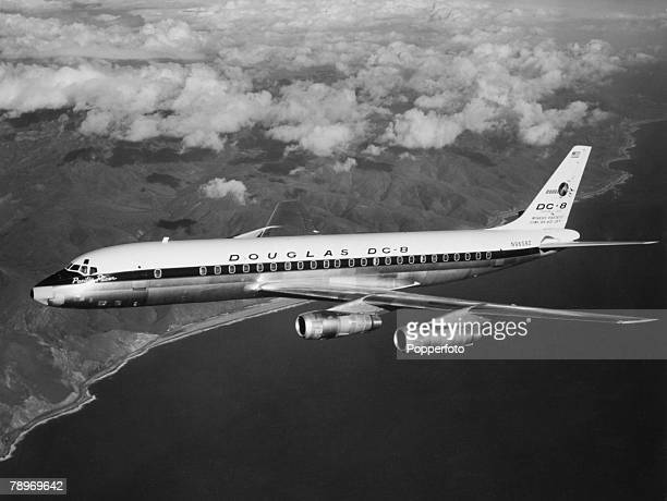 Transport Aviation Four engined Douglas DC8 passenger airliner