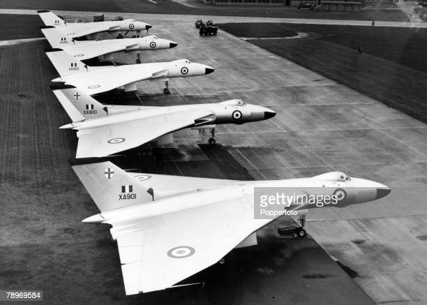 18th September 1957 Waddington Lincolnshire England British Avro 'Vulcan' delta wing jet bombers stand in line at the air base The 'Vulcan' operated...