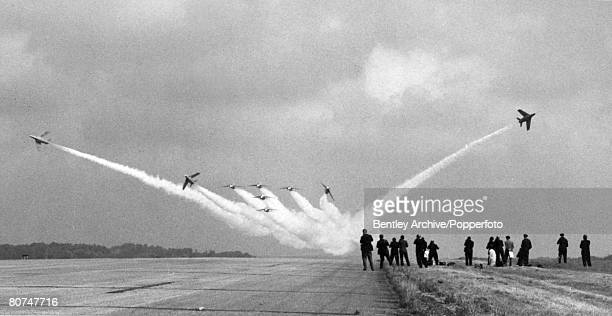 Transport, Aviation, pic: 14th September 1965, Biggin Hill, Kent, The Red Arrows display team of Fighter Command go through their paces for the...