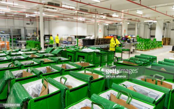 Transport bags at the depot of grocery delivery service Amazon Fresh in Berlin Germany 18 July 2017 Amazon Fresh started in Berlin and Potsdam in...
