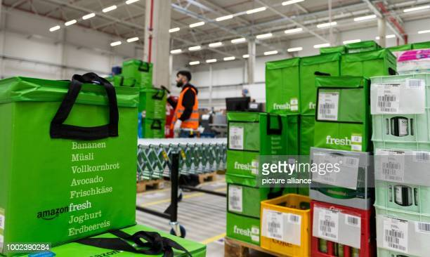 Transport bags ready for delivery at the depot of grocery delivery service Amazon Fresh in Berlin Germany 18 July 2017 Amazon Fresh started in Berlin...