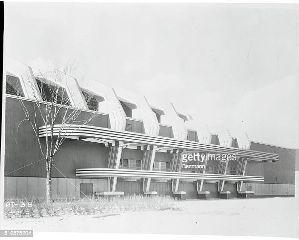 Transport Building at Chicago 1933 World's Fair Chicago Illinois A view of the main Travel and Transport Building at A Century of Progress Chicago's...