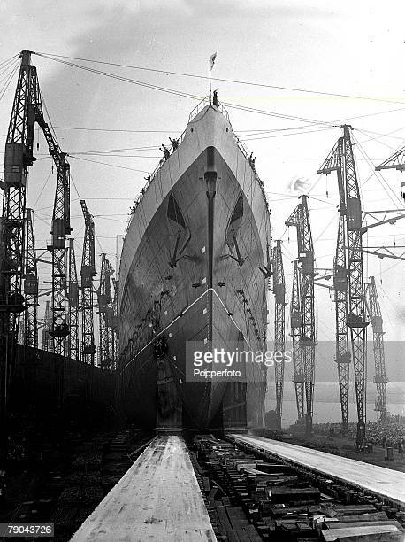 Transport Glasgow Scotland 27th September 1938 The liner 'Queen Elizabeth' launched by her HMQueen Elizabeth built at John Brown's shipyard on the...