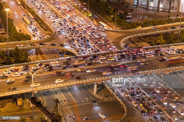 Beijing, China - October 7, 2016: Transport junction in the Chaoyang District, the China world trade center area.