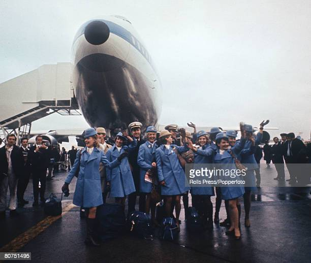 Transport London England January 1970 The giant Boeing 747 Jumbo jet airliner of Pam American airlines seen after just arriving at Heathrow Airport...
