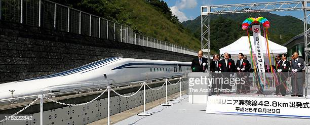 Transport Minister Akihiro Ota and Central Japan Railway Executives attend the ceremony to resume the prototype L0 maglev train test run line to be...