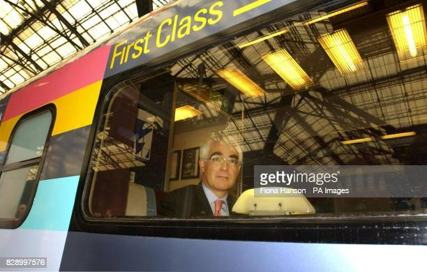Transport Minister Alistair Darling sits in the first class carriage of the new Raewald train that he officially unveiled at Liverpool Street Station...