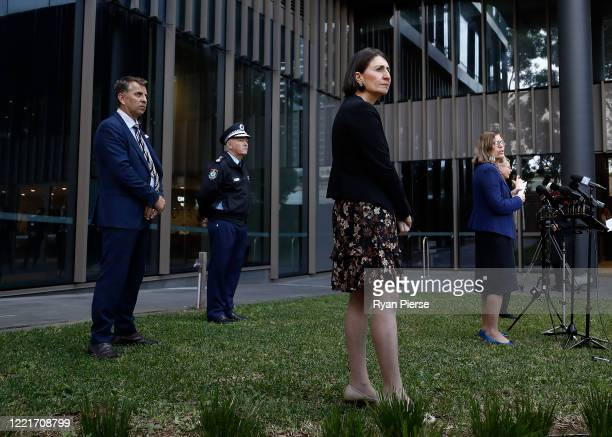 NSW Transport Minister Andrew Constance Commissioner of the New South Wales Police Force Mick Fuller NSW Premier Gladys Berejiklian and Chief Health...