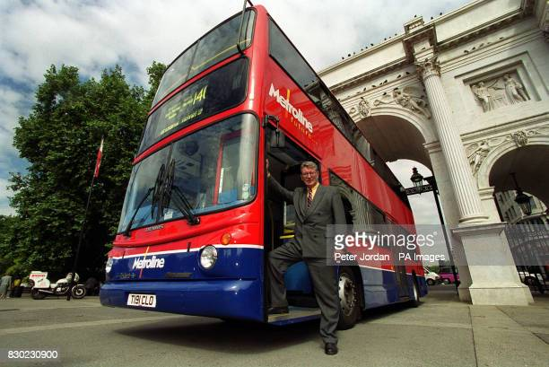 Transport Minister Lord Macdonald at Marble Arch in London getting a board a Trident ALX400 bus the first in a fleet of more than 50 new low floor...