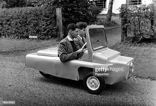 2nd October 1954 A hand built 'Vimp' 2 seater car made for less than 100 pictured during tests in Surrey