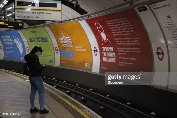 Transport of London advertising on billboards on the London Underground in the City of London, U.K., on Monday, Feb. 15, 2021. The U.K. Recorded 15...