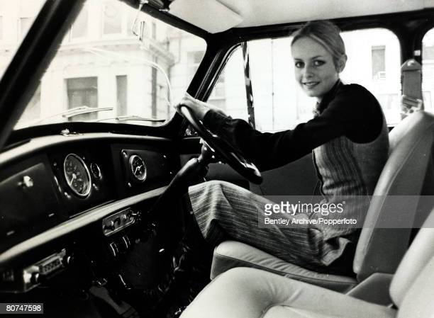 6th November 1968 London British model Twiggy at the wheel of her 'Mini' car in which she passed her driving test