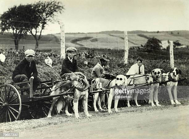 Transport Quebec Canada Circa 1920's Boys from the town of St Anne de Beaupre with their dog drawn carts