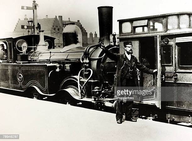 circa 1885 A commuter train about to depart from a London station