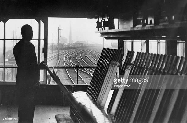 circa 1950 Northampton Northamptonshire England A manually operated signal box at Northampton Station