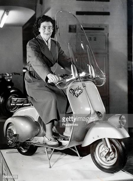 1949 London A Douglas Vespa 125 cc machine exhibited at the Earls Court Motor Show