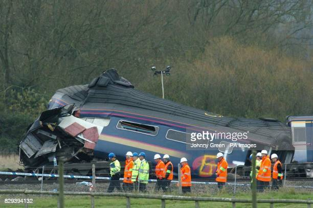 Transport Secretary Alistair Darling and the Conservative Deregulation spokesman John Redwood visit the mangled wreckage of the train which derailed...