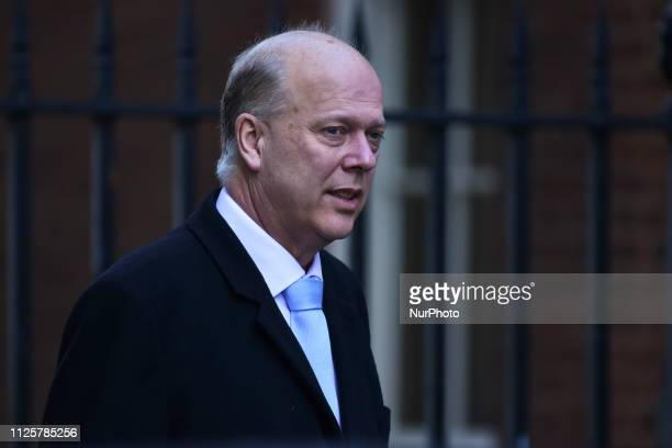Transport Secretary Chris Grayling arrives at 10 Downing Street for the weekly Cabinet Meeting London on Fabruary 19 2019