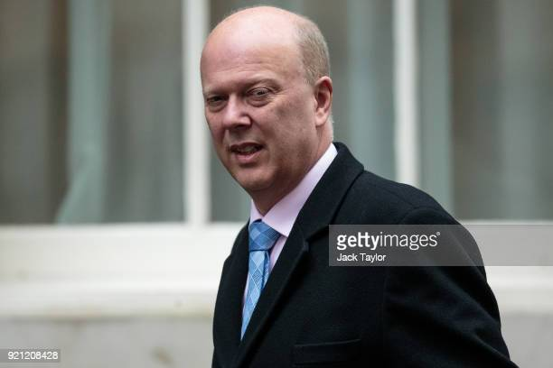 Transport Secretary Chris Grayling arrives on Downing Street for the weekly cabinet meeting on February 20 2018 in London England