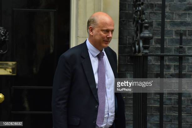Transport Secretary Chris Grayling leaves 10 Downing Street as he attended weekly Cabinet meeting London on October 23 2018 Theresa May has said it...