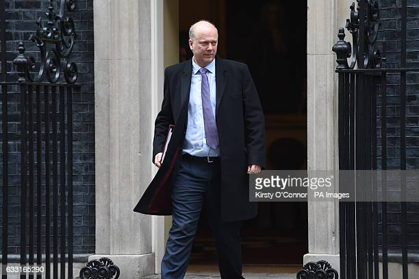 Transport Secretary Chris Grayling leaves 10 Downing Street London after a Cabinet meeting