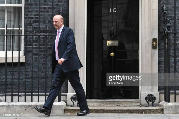 Transport Secretary Chris Grayling leaves following a cabinet meeting at Downing Street on June 18 2019 in London England The Conservative leadership...