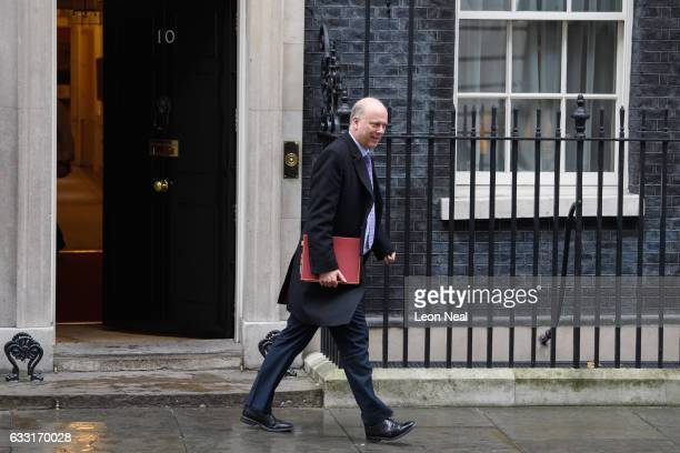 Transport Secretary Chris Grayling leaves the weekly Cabinet meeting at Downing Street on January 31 2017 in London England The Government is set to...
