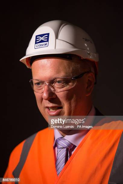 Transport Secretary Chris Grayling speaks to the media as the Crossrail project celebrates the completion of permanent Elizabeth line track in...