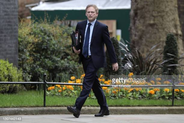 Transport Secretary Grant Shapps arrives in Downing Street for a cabinet meeting on March 17 2020 in London England Boris Johnson held the first of...