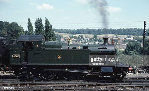 Transport Seven Valley Railway Bridgnorth Shropshire England 7th August 1975 Former Great Western railways steam train locomotive number 4566 at...