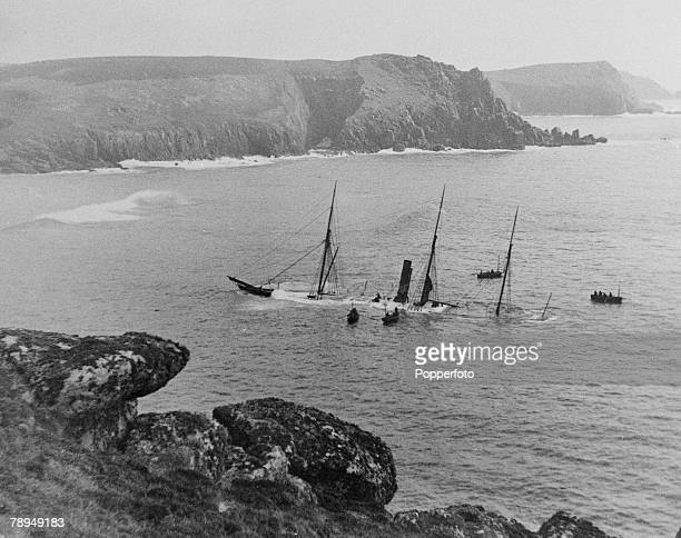 Transport Shipping Lands End Cornwall England The boat the Belbec that was shipwrecked of the coast