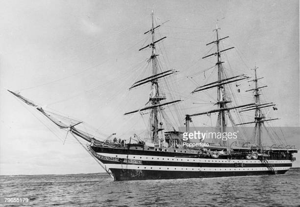 10th June 1953 Spithead England The Italian sail training ship Amerigo Vespucci bedecked with flags for the Queen's Coronation review of the fleet