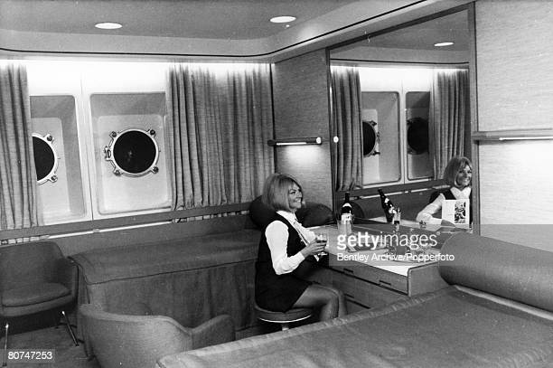 1968 A first class cabin on the British liner Queen Elizabeth II The Queen Elizabeth II built at Clydebank Scotland made her maiden voyage in 1969