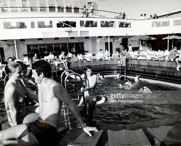 1974 A view of a swimming pool showing passengers having fun aboard the British liner Queen Elizabeth II The Queen Elizabeth II built at Clydebank...